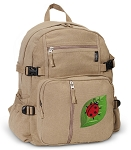 Ladybug Canvas Backpack Tan