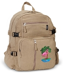 Flamingo Canvas Backpack Tan