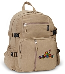 Peace Frogs Canvas Backpack Tan