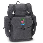Flamingo LARGE Canvas Backpack Black