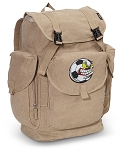 Soccer Fan LARGE Canvas Backpack Tan