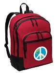 Peace Sign Backpack CLASSIC STYLE Red