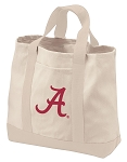 University of Alabama Tote Bags NATURAL CANVAS