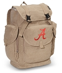 University of Alabama LARGE Canvas Backpack Tan