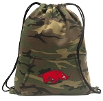 Arkansas Razorbacks Drawstring Backpack Green Camo