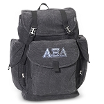 Alpha Xi LARGE Canvas Backpack Black