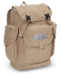 Alpha Xi LARGE Canvas Backpack Tan