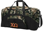 Official Chi Omega Camo Duffel Bags
