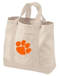 Clemson Tote Bags NATURAL CANVAS