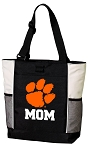 Clemson University Mom Tote Bag White Accents