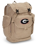 University of Georgia LARGE Canvas Backpack Tan