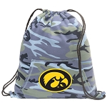 Iowa Hawkeyes Drawstring Backpack Blue Camo