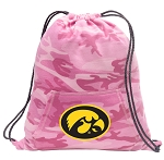 Iowa Hawkeyes Drawstring Backpack Pink Camo