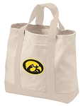 University of Iowa Tote Bags NATURAL CANVAS