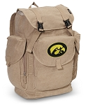 Iowa Hawkeyes LARGE Canvas Backpack Tan