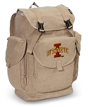 Iowa State LARGE Canvas Backpack Tan