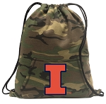 University of Illinois Drawstring Backpack Green Camo