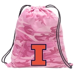 University of Illinois Drawstring Backpack Pink Camo