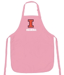 Deluxe University of Illinois Grandma Apron Pink - MADE in the USA!