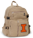 Illinois Illini Canvas Backpack Tan