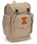 Illinois Illini LARGE Canvas Backpack Tan