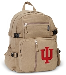 IU Indiana University Canvas Backpack Tan