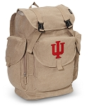 IU Indiana University LARGE Canvas Backpack Tan
