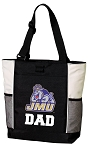 James Madison University Dad Tote Bag White Accents
