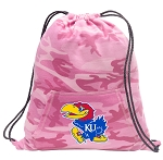 University of Kansas Drawstring Backpack Pink Camo