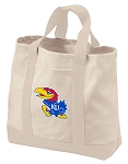 University of Kansas Tote Bags NATURAL CANVAS