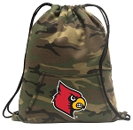 Louisville Cardinals Drawstring Backpack Green Camo