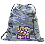 LSU Drawstring Backpack Blue Camo