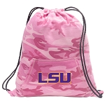 LSU Drawstring Backpack Pink Camo