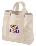 LSU Tote Bags NATURAL CANVAS