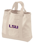 LSU Tigers Tote Bags NATURAL CANVAS