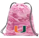 University of Miami Drawstring Backpack Pink Camo