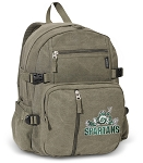 Michigan State Peace Frog Canvas Backpack Olive