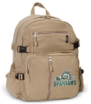 Michigan State Peace Frog Canvas Backpack Tan