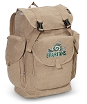 Michigan State Peace Frog LARGE Canvas Backpack Tan