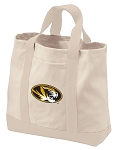 University of Missouri Tote Bags NATURAL CANVAS
