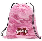 Mississippi State Drawstring Backpack Pink Camo