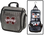 MSU Bulldogs Toiletry Bag or Mississippi State University Shaving Kit Organizer for Him Gray