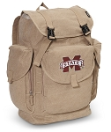Mississippi State University LARGE Canvas Backpack Tan