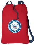 US NAVY Drawstring Bag United States Navy Cinch Backpacks RED COTTON!