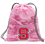 NC State Drawstring Backpack Pink Camo