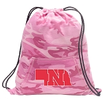 Girls University of Nebraska Drawstring Backpack Pink Camo