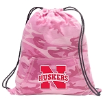 University of Nebraska Drawstring Backpack Pink Camo