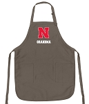 University of Nebraska Grandma Deluxe Apron Khaki