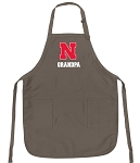 University of Nebraska Grandpa Deluxe Apron Khaki