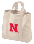 University of Nebraska Tote Bags NATURAL CANVAS